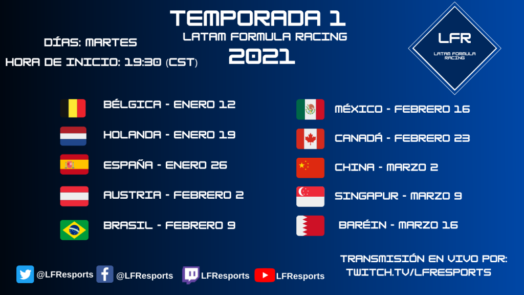 Calendario Horizontal 2021 LFR Temporada 1