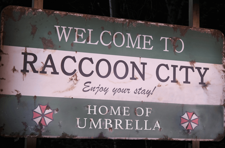 Resident Evil Welcome to Racoon City Town Sign